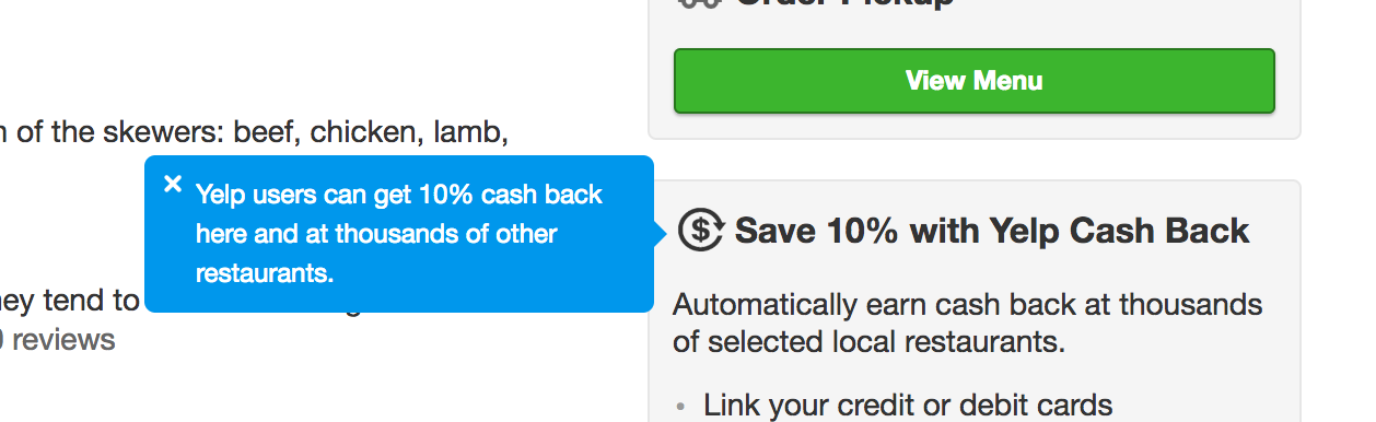 yelp feature tooltip