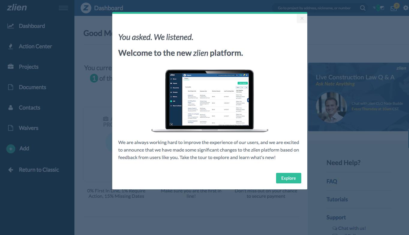 zlien new platform modal announcement