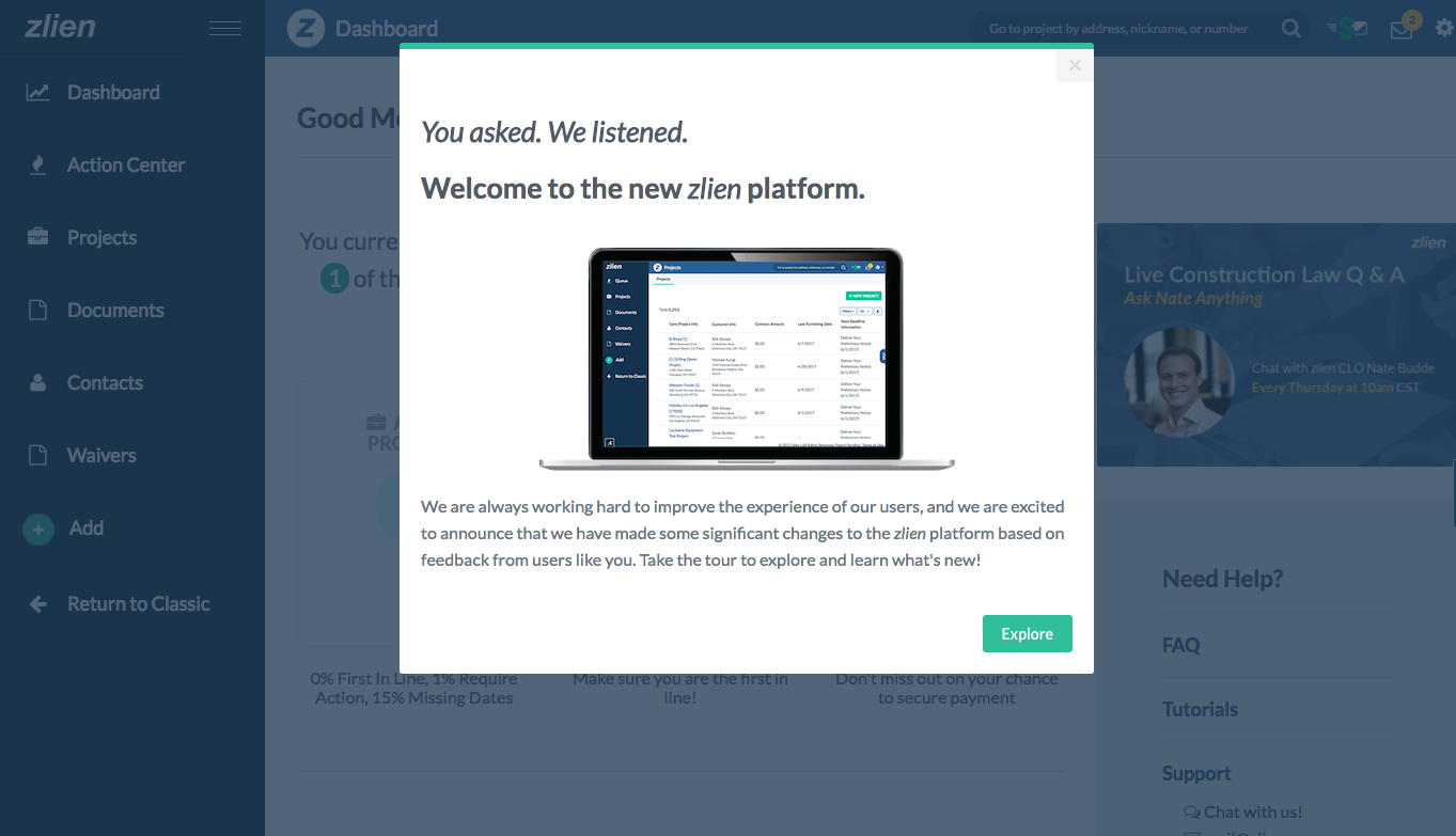 zlien new platform modal announcement