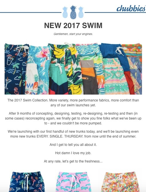 Chubbies pieces its product launch for increased suspense