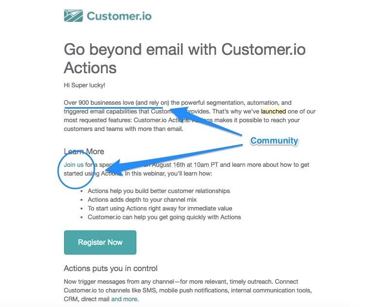 Customer.io's email focuses on building community
