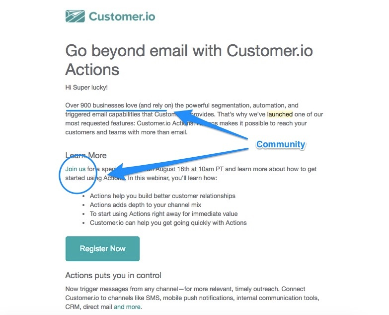 Customer.io's email focuses on building community