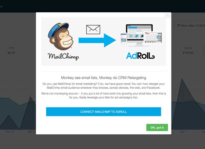 adroll mailchimp integration announcement modal appcues