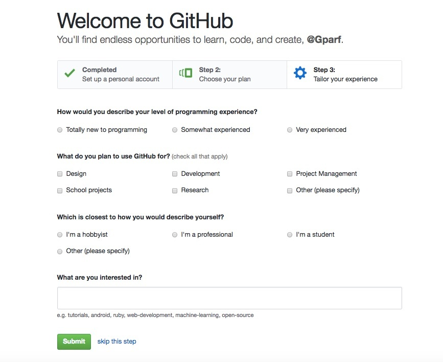 GitHub opens onboarding to different users right away with a survey