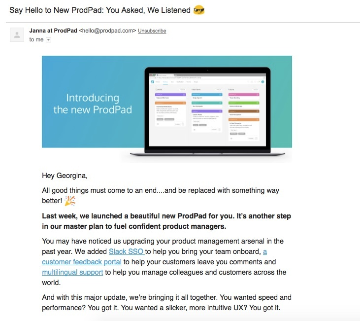ProdPad emphasizes its news with an upbeat style
