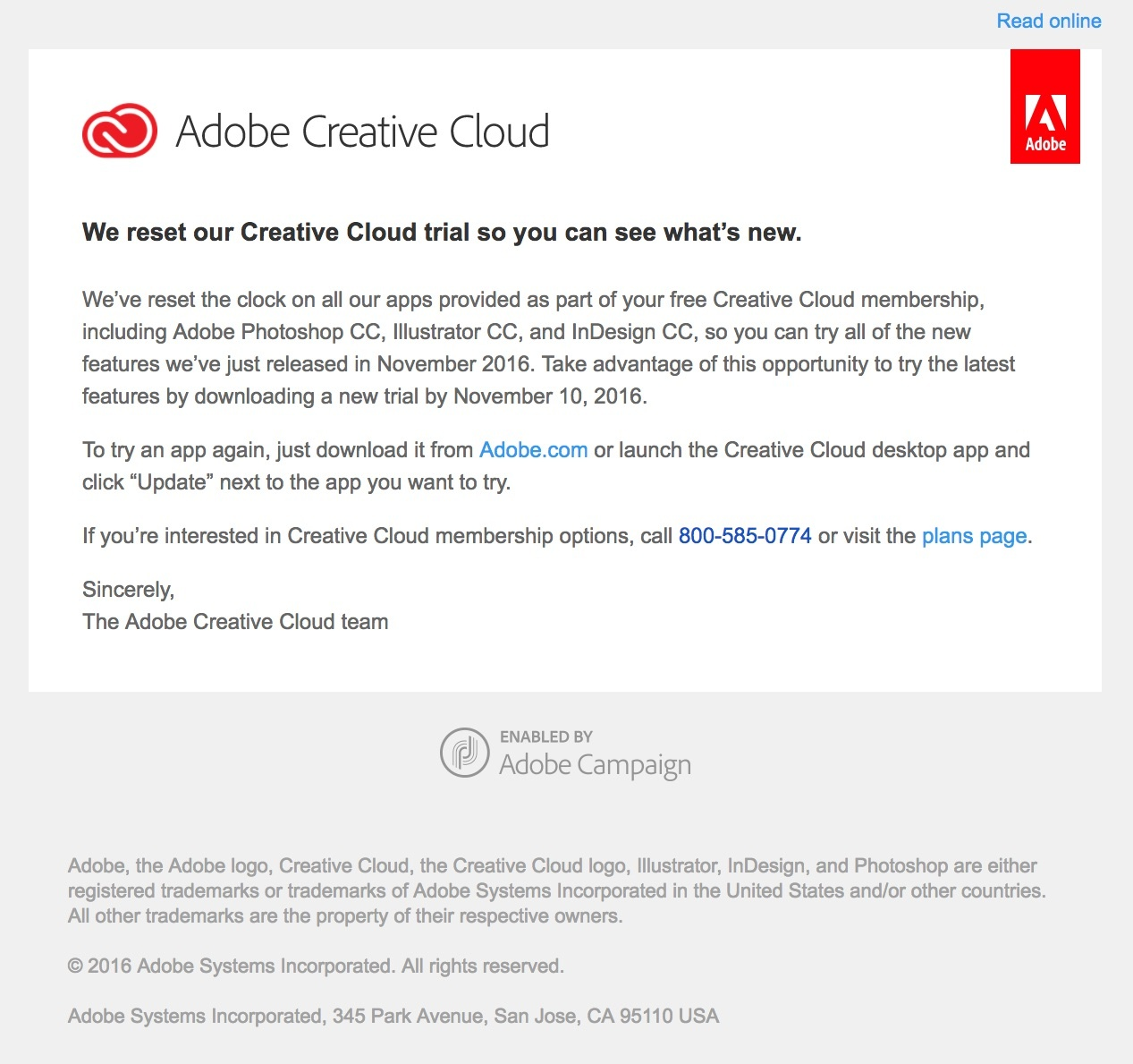 Adobe resets their trial so users don't have to