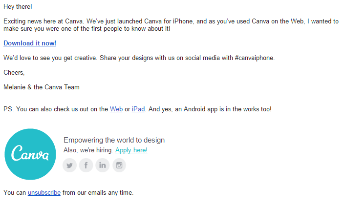 Canva makes users feel important