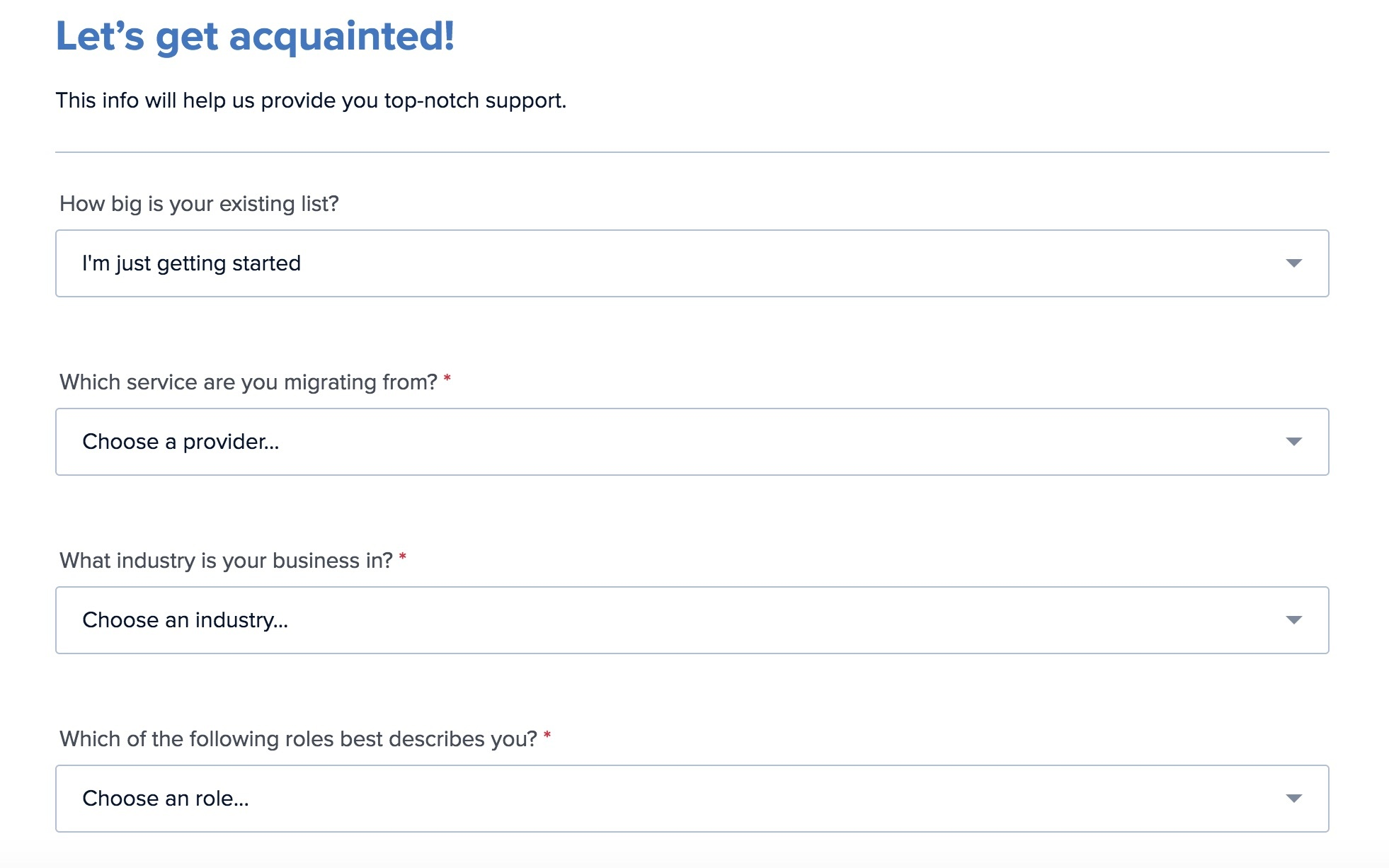 drip onboarding questionnaire