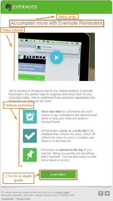 Evernote uses product launch emails to focus on specific use cases