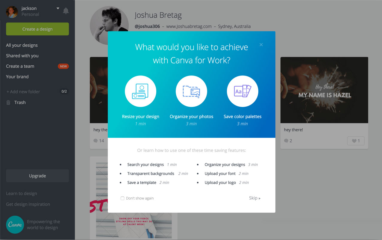 canva welcome message built with Appcues