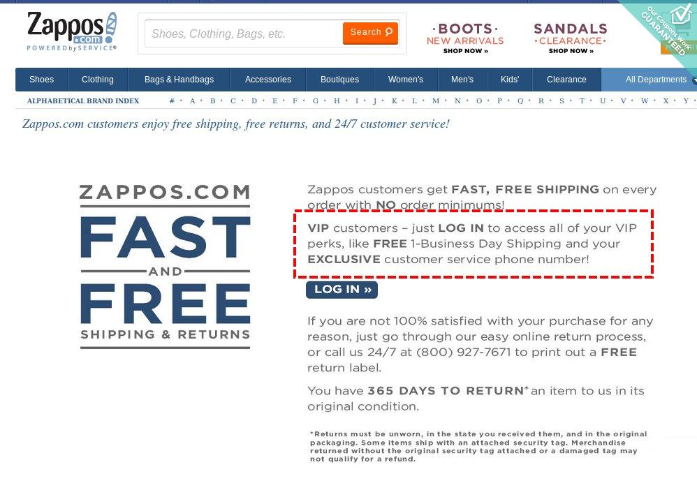 user retention zappos