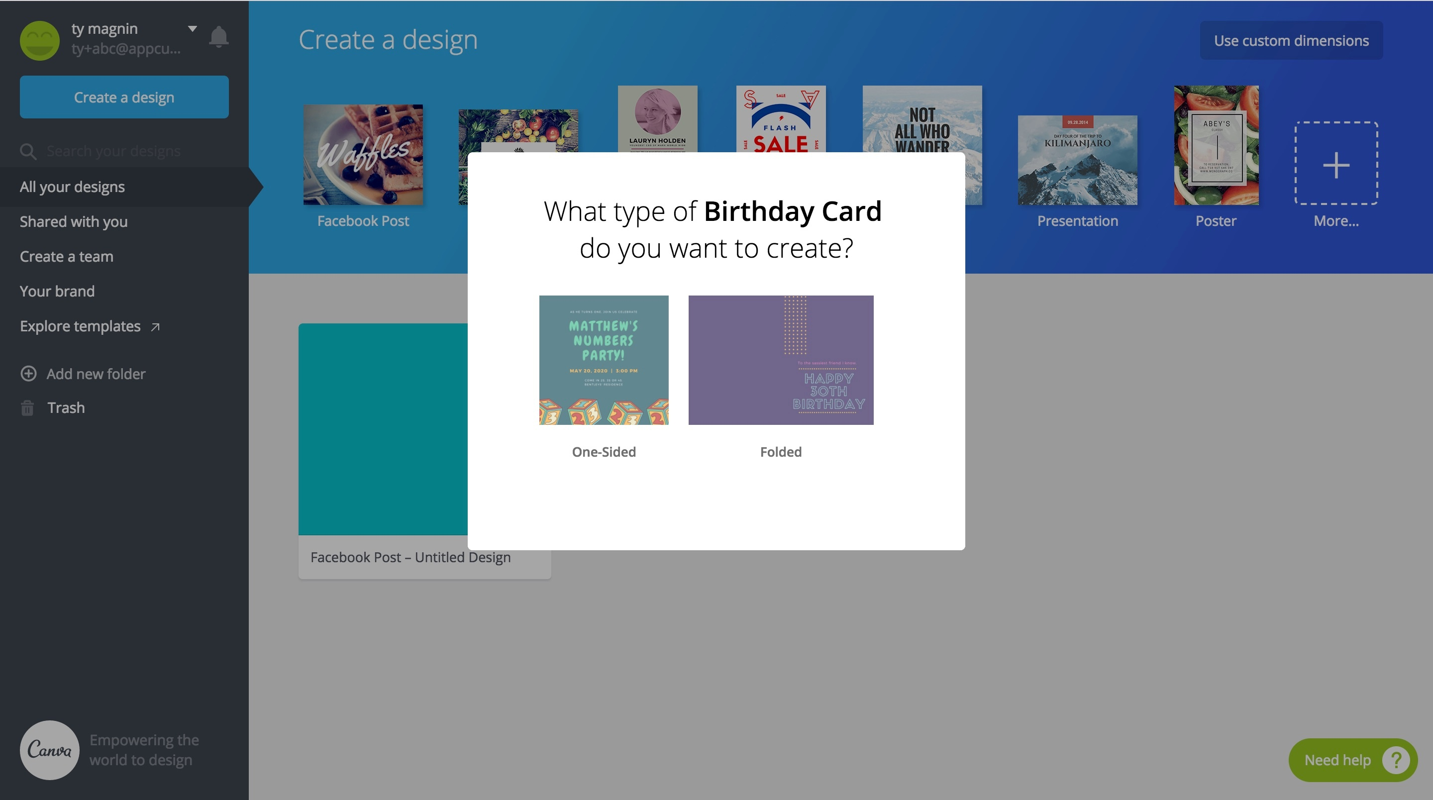 Birthday card modal