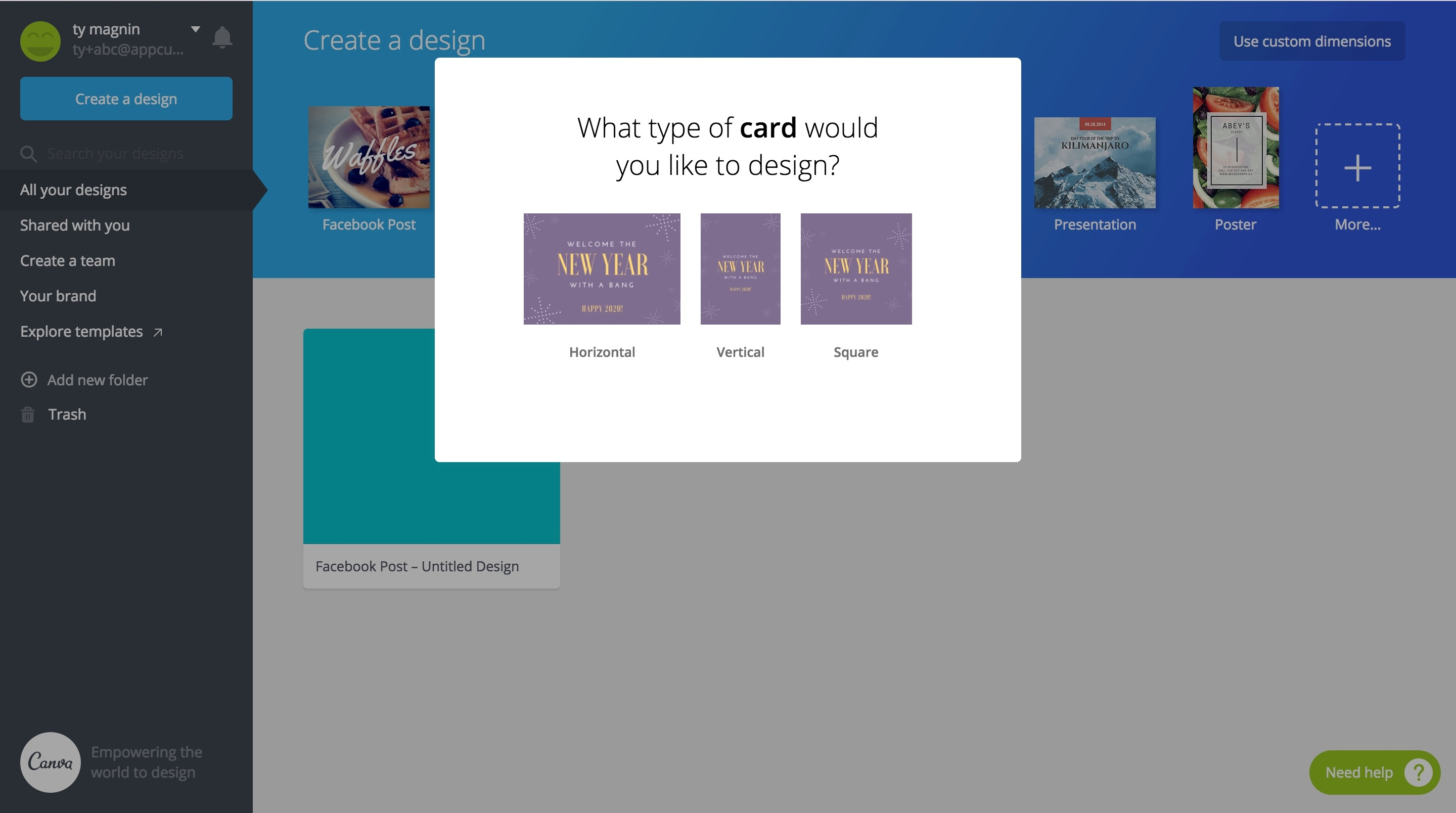 Canva card orientation