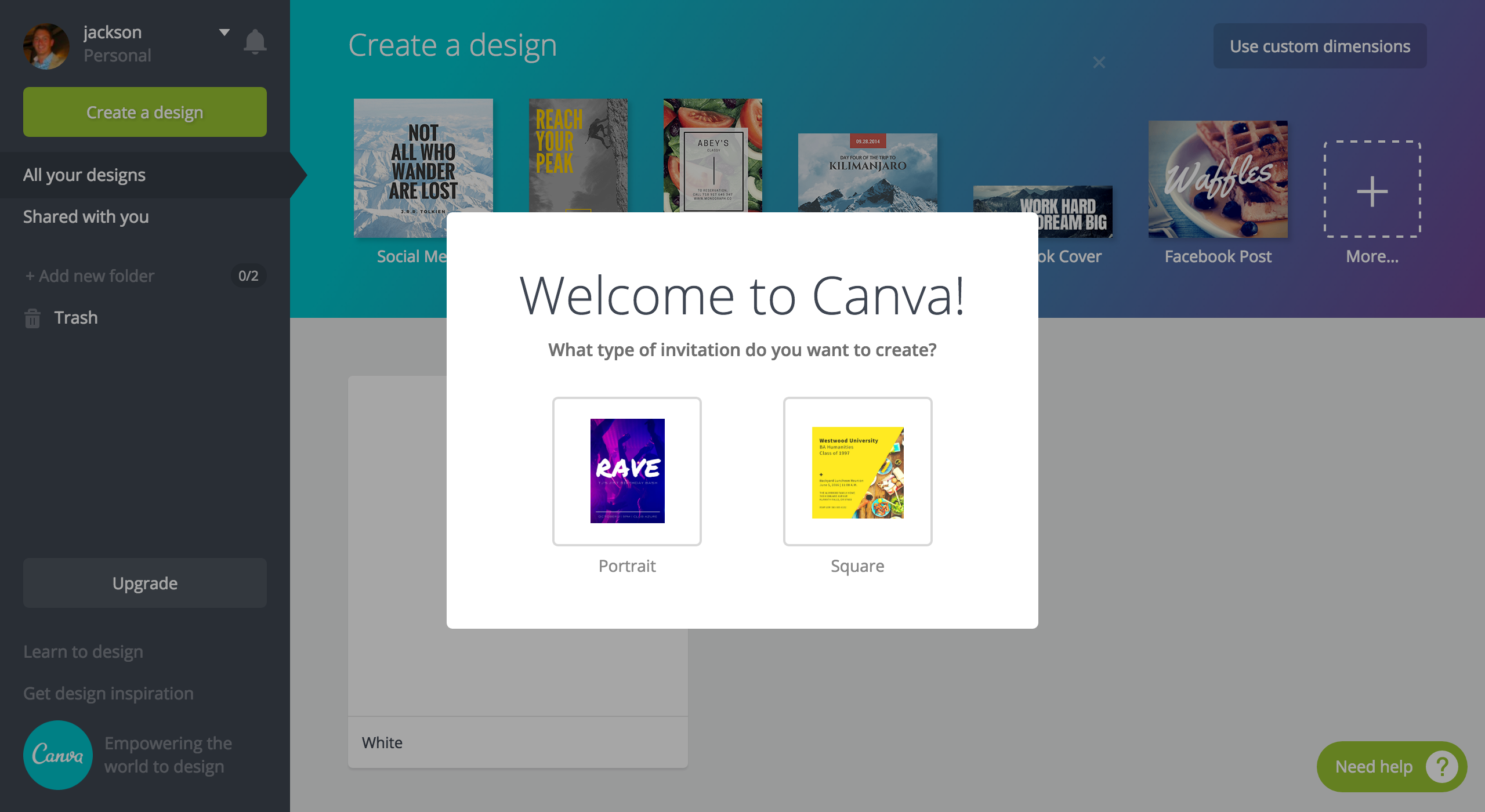 Canva choices modal
