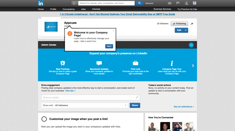LinkedIn product tour company page 1