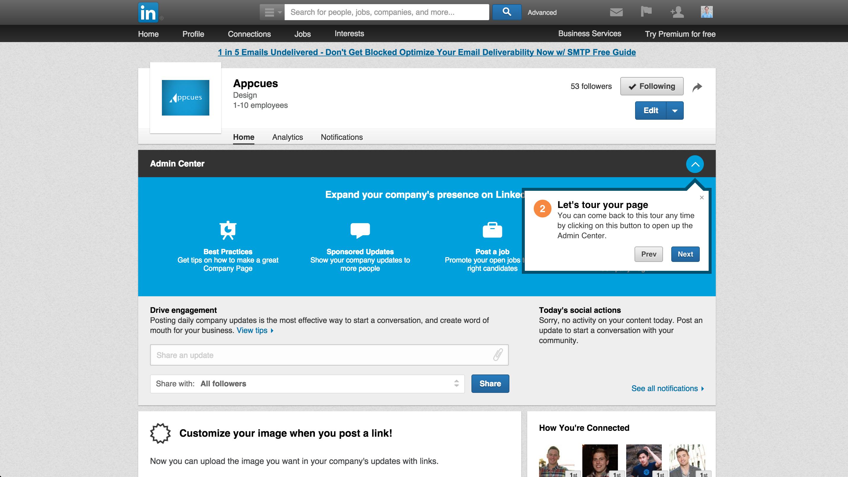 LinkedIn product tour company page 2