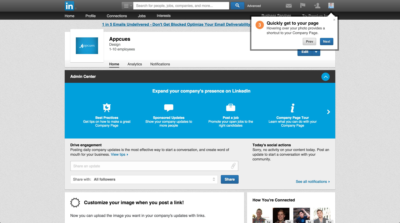LinkedIn product tour company page 3