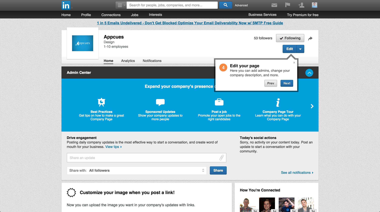 LinkedIn product tour company page 4