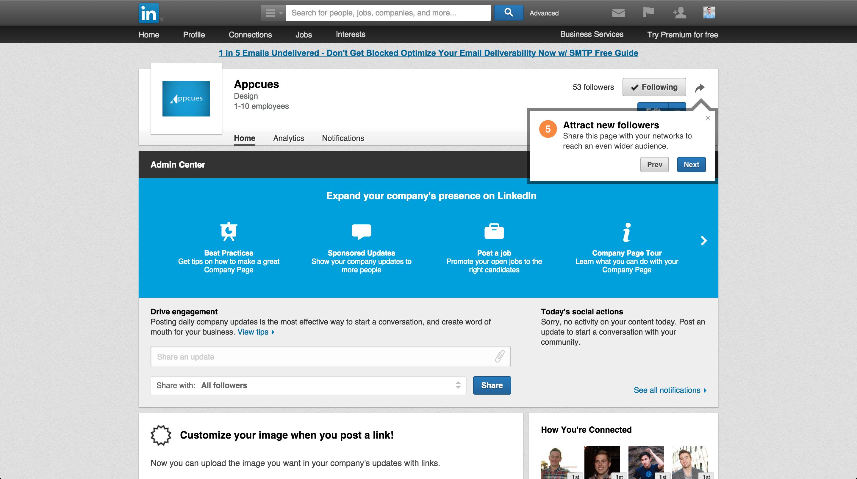 LinkedIn product tour company page 5