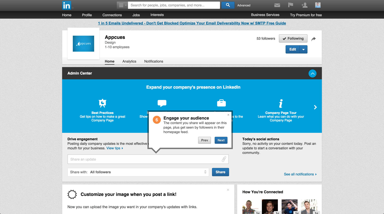 LinkedIn product tour company page 6
