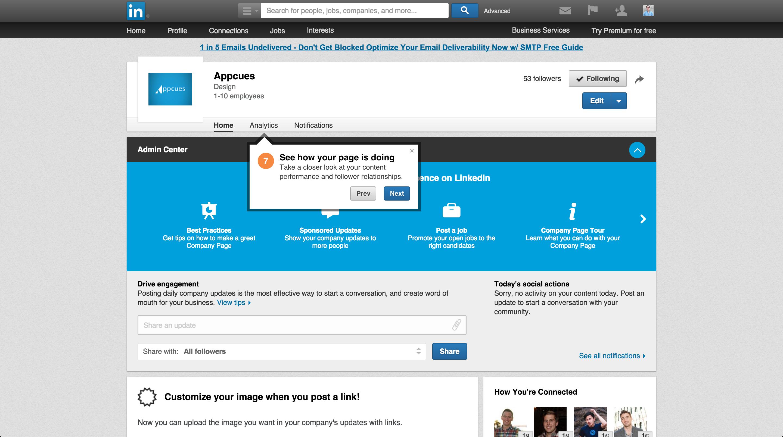 LinkedIn product tour company page 7
