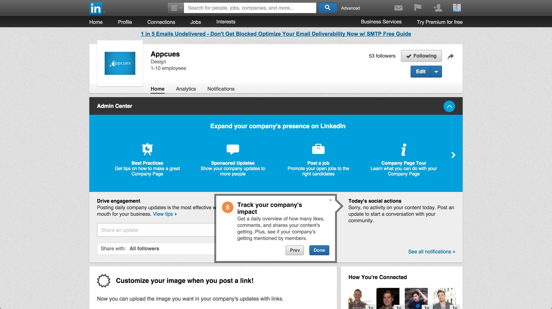 LinkedIn product tour company page 8
